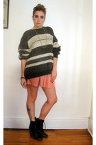 silky American Apparel skirt - lace-up boots - cosby vintage sweater