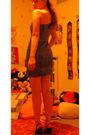 Blue-forever-21-dress-black-vintage-shoes