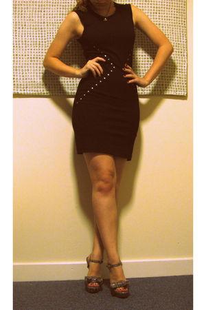 black Primark dress - silver Jessica Simpson shoes