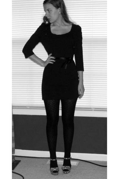 black H&M dress - black HUE stockings - silver Jessica Simpson shoes