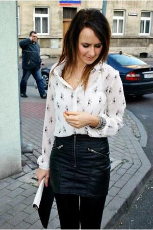 black skirt - ivory blouse