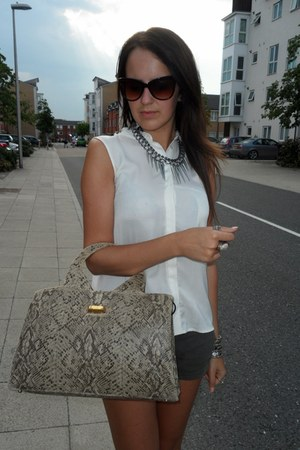 dark khaki bag - army green shorts - crimson sunglasses - white blouse