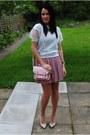Mint-primark-top-powder-pink-banana-republic-skirt-studded-zara-heels