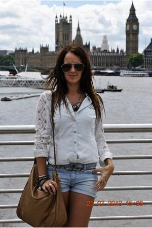 casual Primark shirt - leather Primark bag - classic Zara shorts