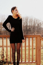 black H&M dress - charcoal gray leopard Topshop tights