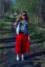 Red-pleated-forever-21-skirt