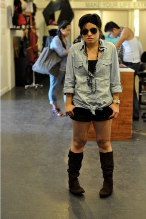 Zara top - Topshop shorts - payless boots - rayban sunglasses