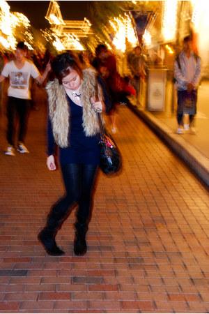black Zara boots - camel faux fur Dorothy Perkins vest