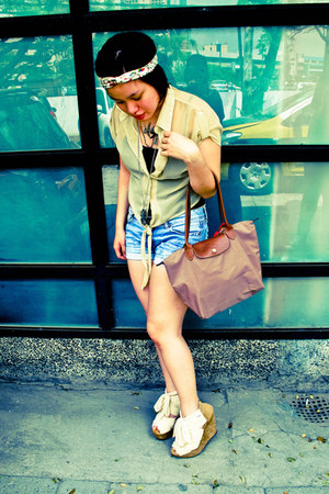 light brown le pliage longchamp bag - denim DIY shorts - off white chiffon-tie D