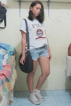 black unbranded bag - cut-off shorts DIY shorts - off white From Baguio t-shirt