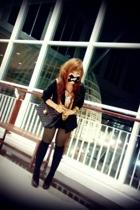 black blazer Zara blazer - black heels LYN shoes - black short Guess shorts