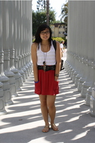 red Mossimo skirt - white Forever 21 top - black Forever 21 belt - gold Forever
