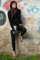 black MNG jacket - black kiss me pssy t-shirt - DKNY shoes - H&M shorts - leggin