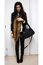 black Bershka blazer - dark brown leopard print scarf - black leather H&M bag -