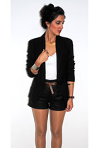 black Zara blazer - black leather Zara shorts