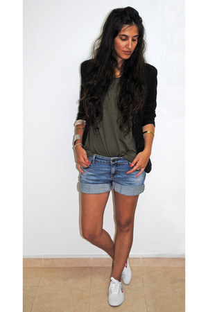 black Zara blazer - sky blue denim Zara shorts