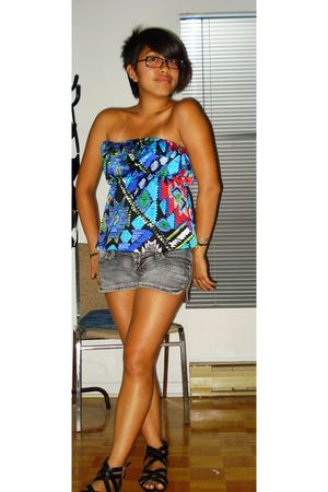 blue Forever 21 top - gray TJ Maxx shorts - black H&M shoes - silver Erica Weine