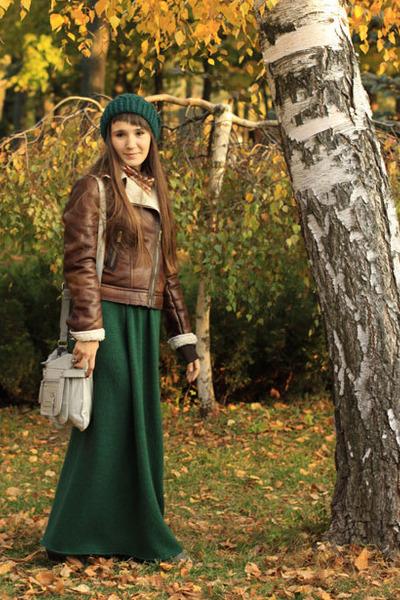 pull&bear jacket - wool handmade hat - wool handmade skirt