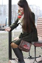 wool H&M coat - handmade bag - cotton Mango pants