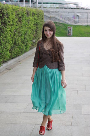 vagabond shoes - green handmade skirt - clutch Mango accessories