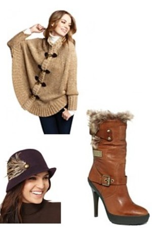 cute Macys sweater - faux fur Guess boots - vintage Macys hat