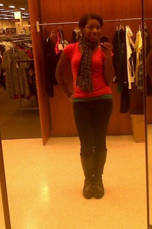 red simple tee Top Notch shirt - Macys jeans - Burlington coat factory scarf