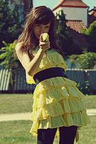 yellow Zara dress - black Zara panties - black vintage belt