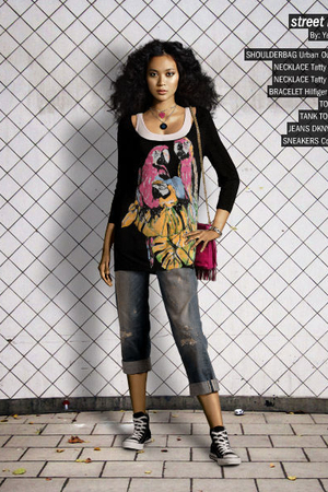 silver DKNY jeans - pink Urban Outfitters purse - black Tatty Devine necklace -