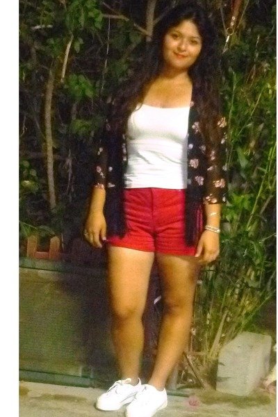 black Forever 21 cardigan - red Walmart shorts - white Aeropostale sneakers