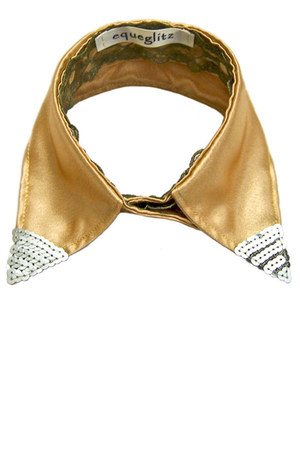 gold Equeglitz necklace - silver sequined points Equeglitz necklace