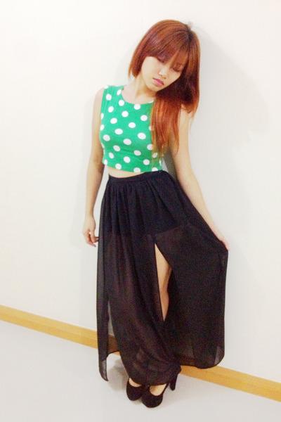 black Atmosphere skirt - green Topshop top - black black velvet Shimamura pumps