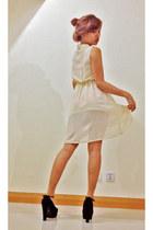 eggshell cream long back dress