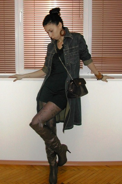 olive green Knee high boots - olive green dark green dress