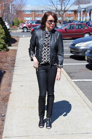 Joe Fresh shirt - Payless shoes - coated H&M jeans - faux leather TJ Maxx jacket