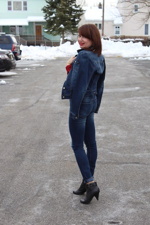 jean Levis jacket - faux leather DSW boots - high waisted H&M jeans