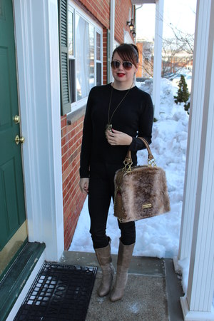 Olivia and Joy purse - Charlotte Russe boots - coated H&M jeans