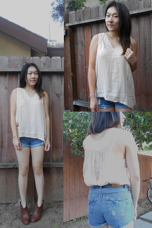 Very Honey blouse - brown booties Payless boots - The 7 Senses shorts