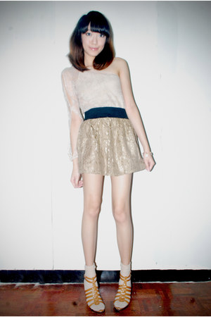 beige skirt - off white socks - off white top - camel heels