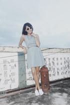 light blue tennis dress vintage dress - white Keds sneakers