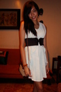 White-shopaholic-vest-white-thrifted-dress-brown-forgot-accessories-brown-