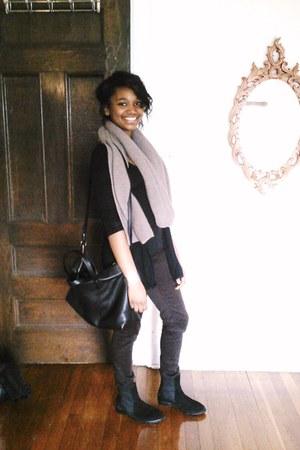 black Zara boots - truffle Zara scarf - black Zara bag - black Zara cardigan