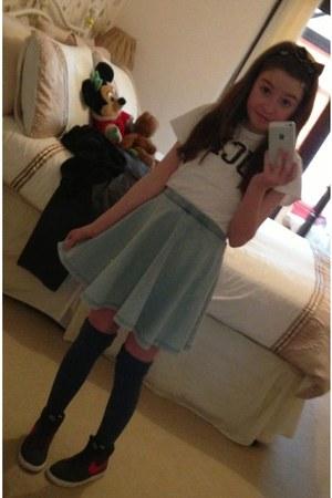 light blue Topshop skirt - navy Topshop socks - white Topshop t-shirt