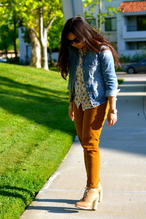 cream Forever21 top - camel loeffler randall boots - blue denim JCrew jacket