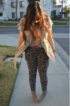 black polka dot pants Brooks Brothers pants - light brown fabric scrap boots