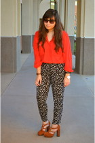 black Forever21 pants - tawny we who see heels - red thrifted vintage top