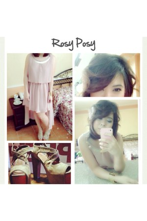 light pink chiffon Jellybean dress - gold Forever 21 accessories