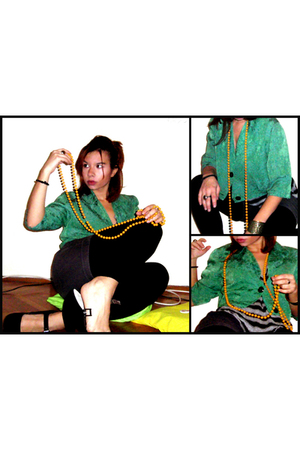 green vintage blazer - black Dorothy Perkins shoes