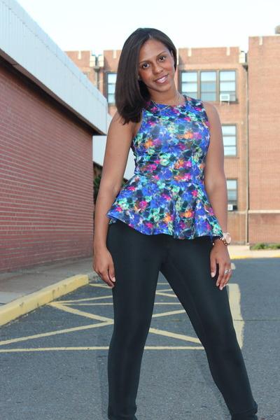 peplum H&M top - spandex NY&CO leggings