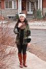 Ruby-red-leather-charlotte-russe-boots-green-army-jacket