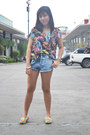 Sky-blue-denim-cut-offs-topshop-shorts-light-yellow-floral-print-loafers